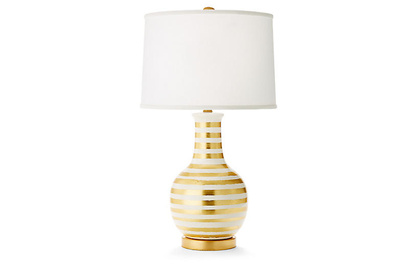 Madison Table Lamp - Gold/White