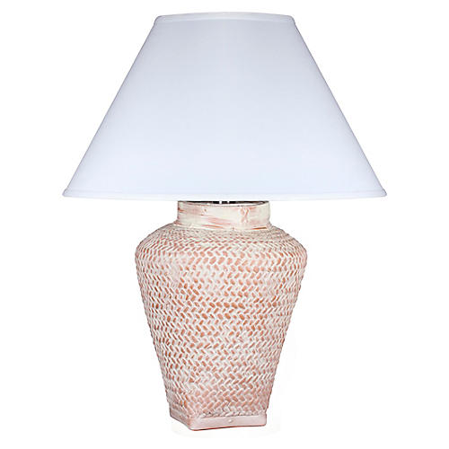 Positano Table Lamp, Whitewash Terracotta
