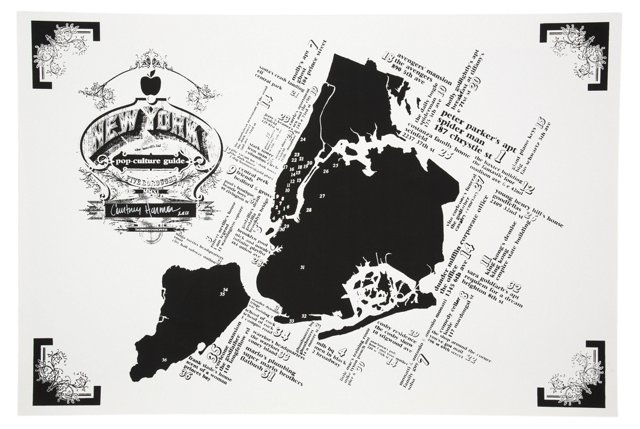 NY Pop-Culture Map Print, Black