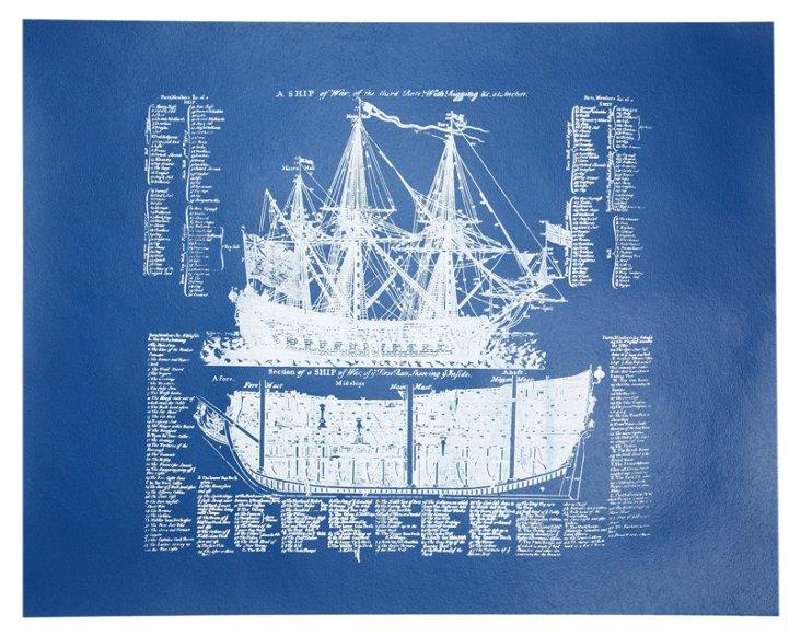 Ship Print, Cobalt