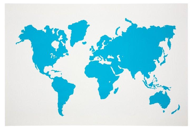 Modern Map Print, Blue Ink