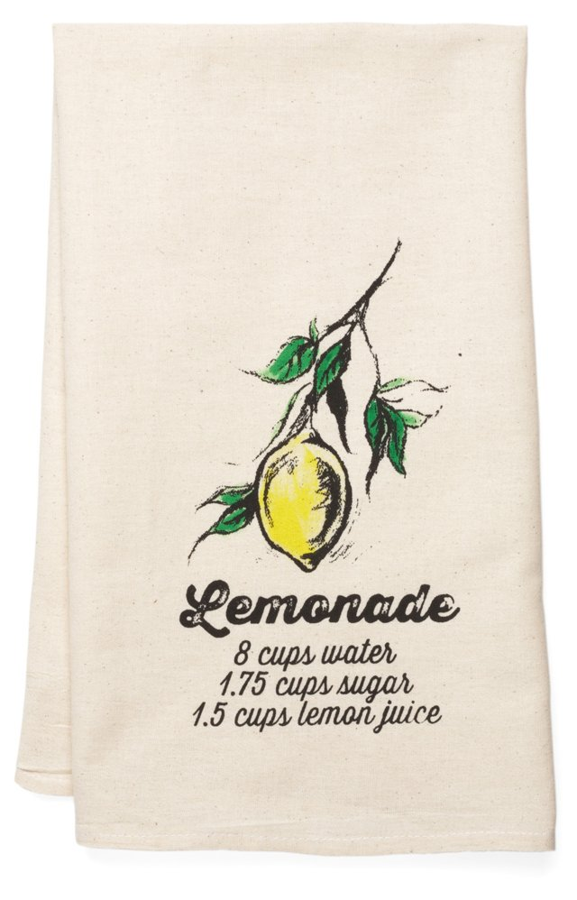 """Lemonade"" Tea Towel, Yellow"
