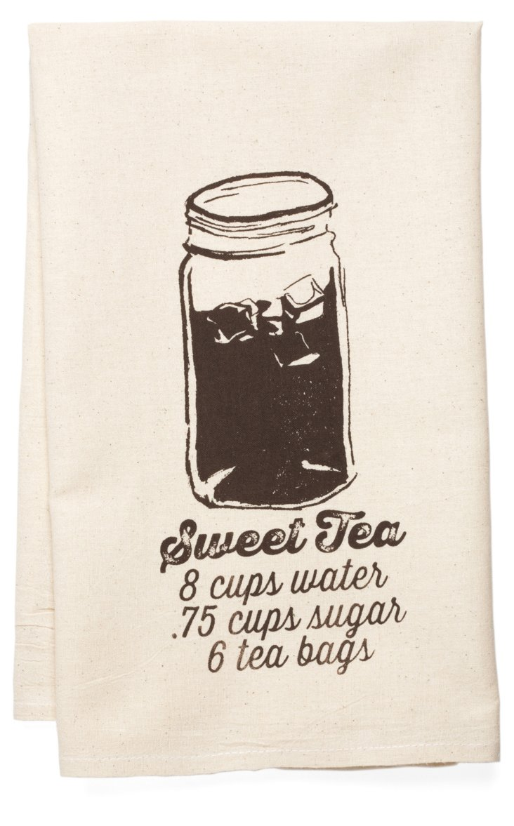 """Sweet Tea"" Tea Towel, Brown"