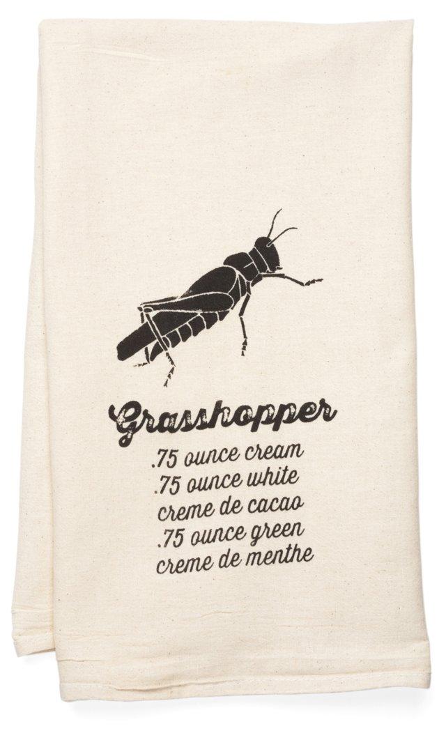 """""""Grasshopper"""" Tea Towel, Black"""