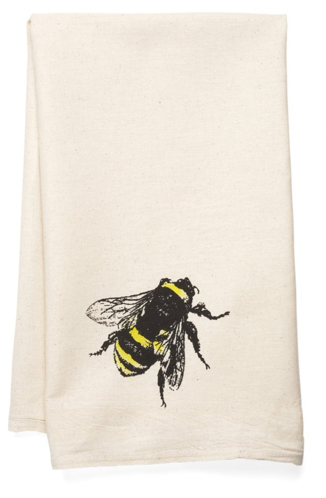 Bee Tea Towel, Yellow
