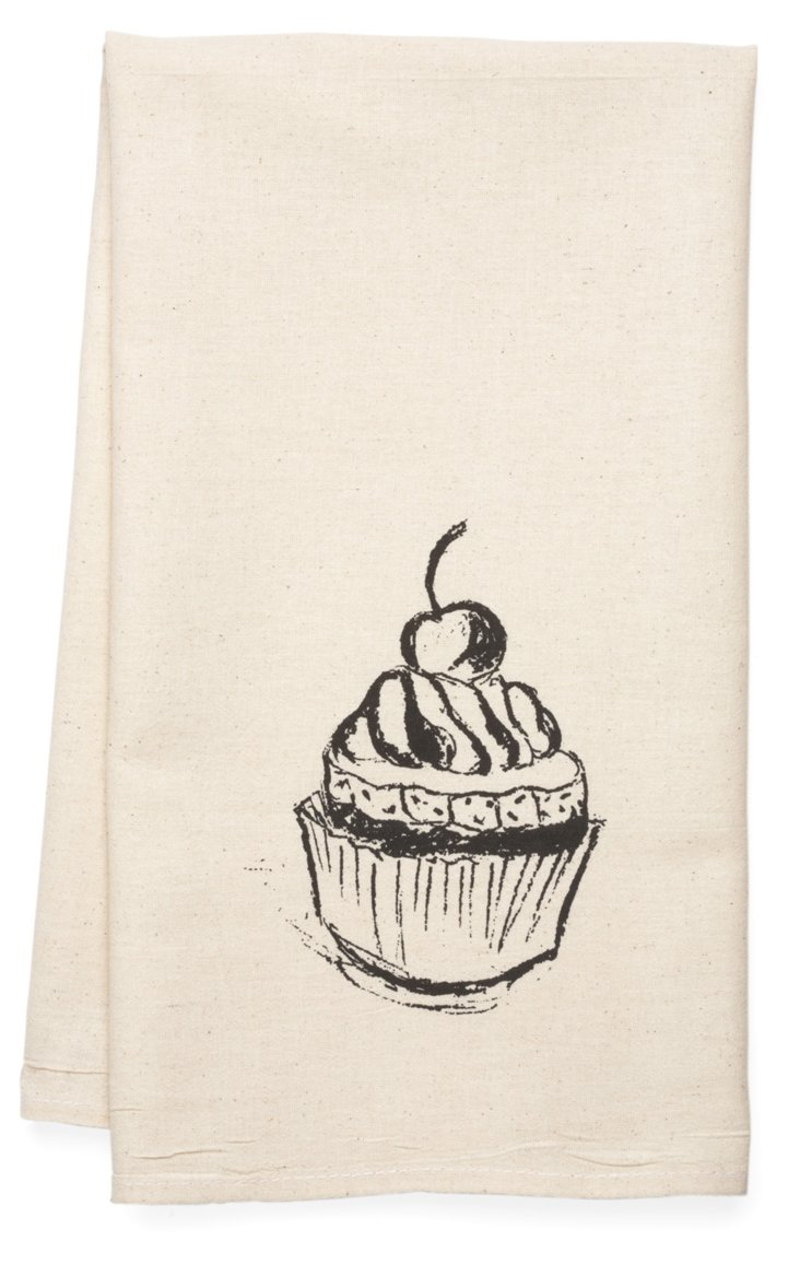 Cupcake Tea Towel, Black