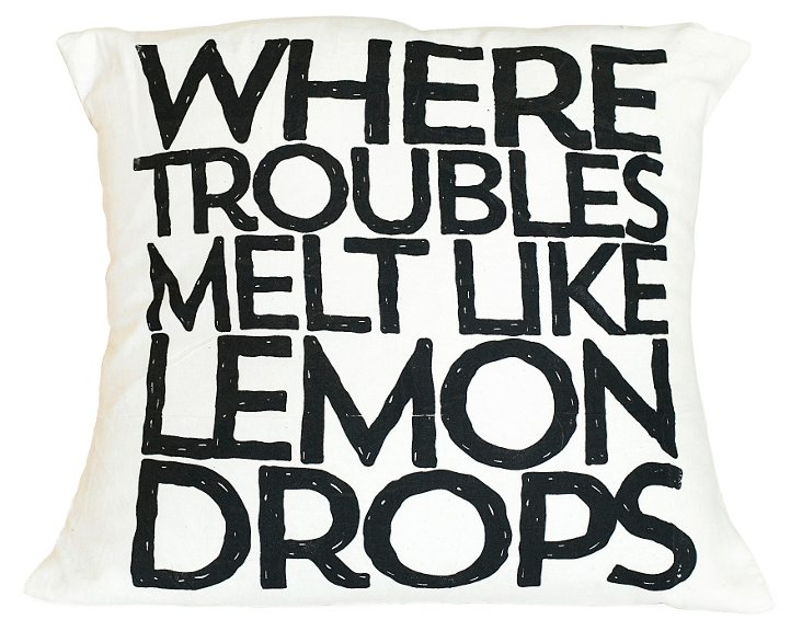 """Lemon Drops"" 16x16 Pillow, Black"