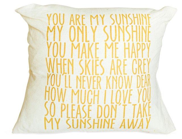 """Sunshine"" 16x16 Cotton Pillow, Yellow"