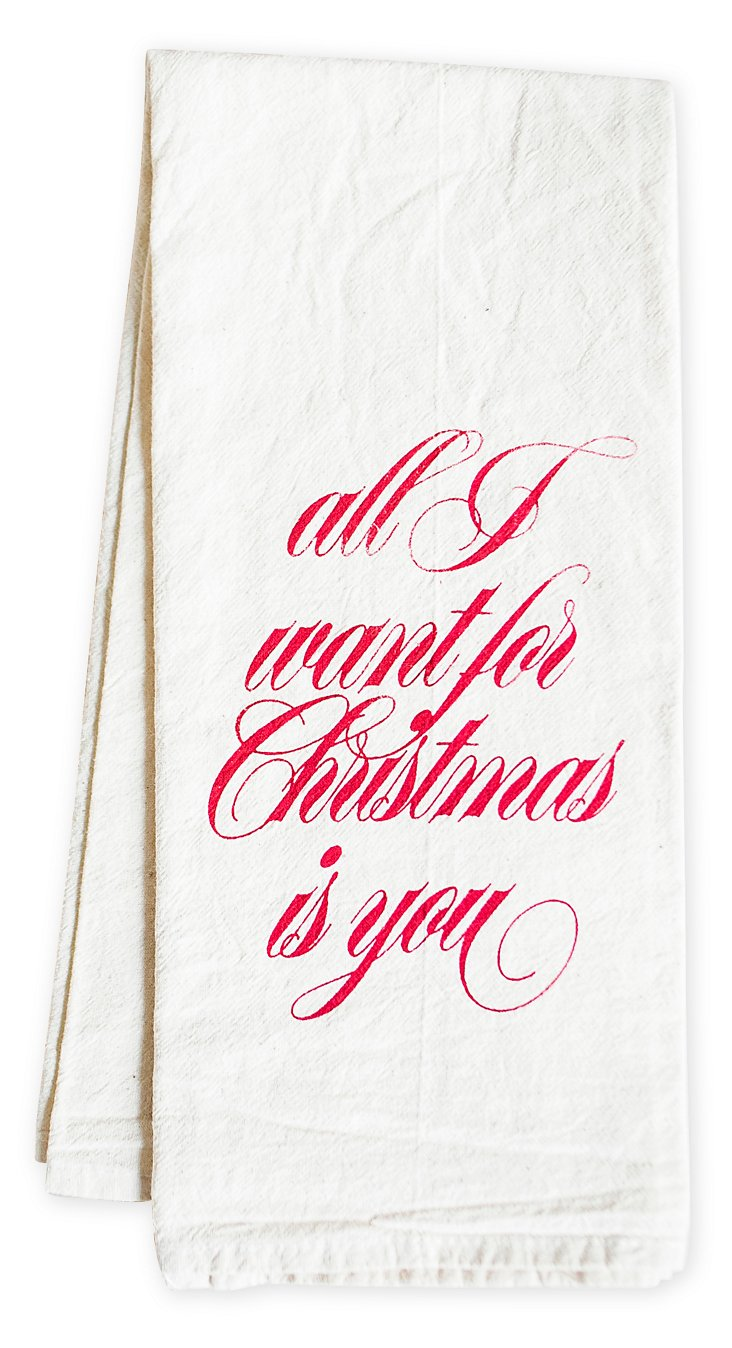 """All I Want"" Tea Towel, Red"
