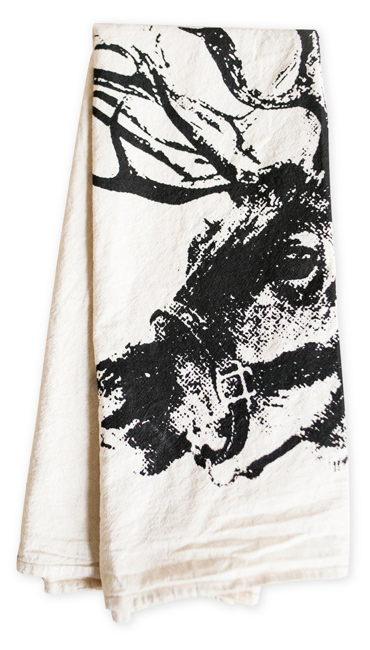 Reindeer Tea Towel, Black