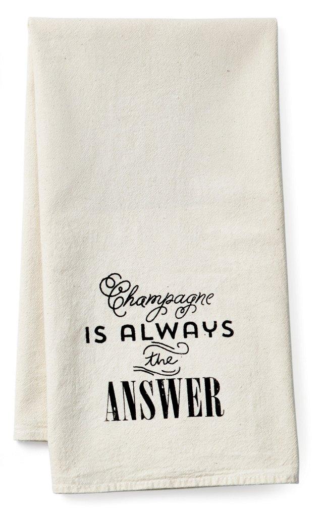 """Champagne"" Tea Towel, Black"