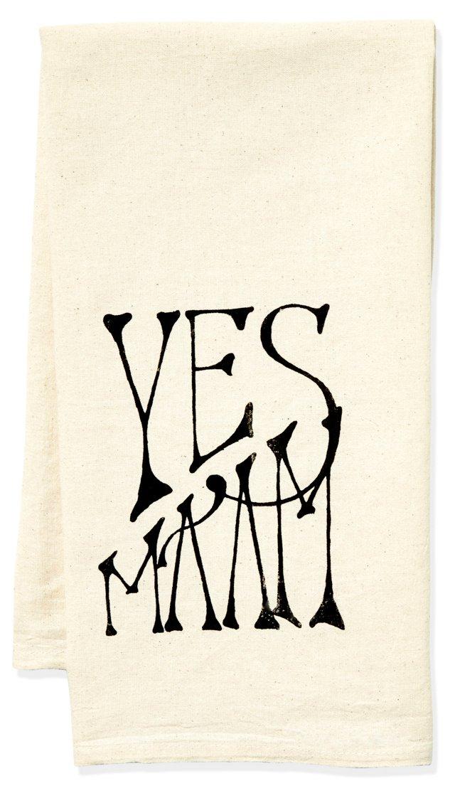 """""""Yes Ma'am"""" Tea Towel, Black"""