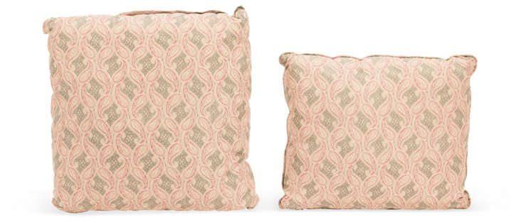 Red Paisley Pillows, Pair