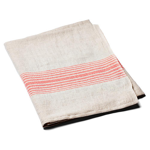 Linen Striped Towel, Coral