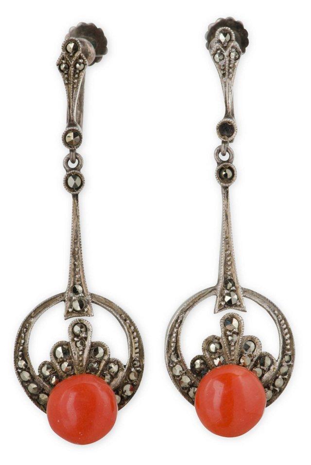 Coral, Sterling & Marcasite Earrings
