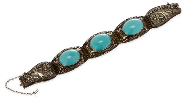 Chinese Turquoise Filigree Bracelet