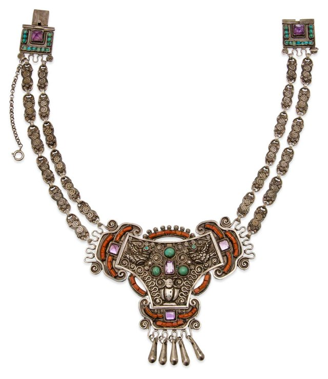 Early Matl Mexican Silver Necklace