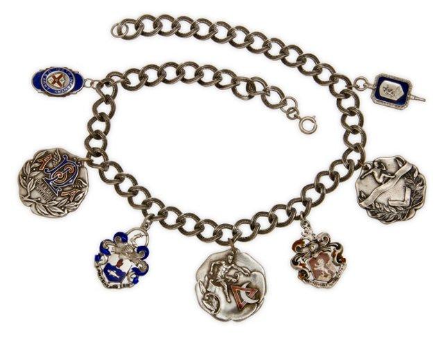 Sterling Enamel Medals Necklace