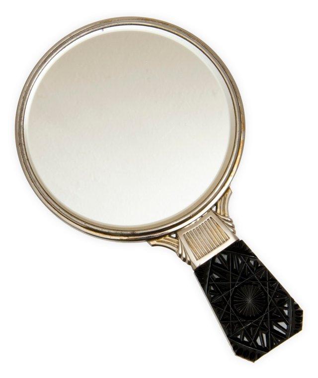 Art Deco Silver Cut-Glass Hand Mirror