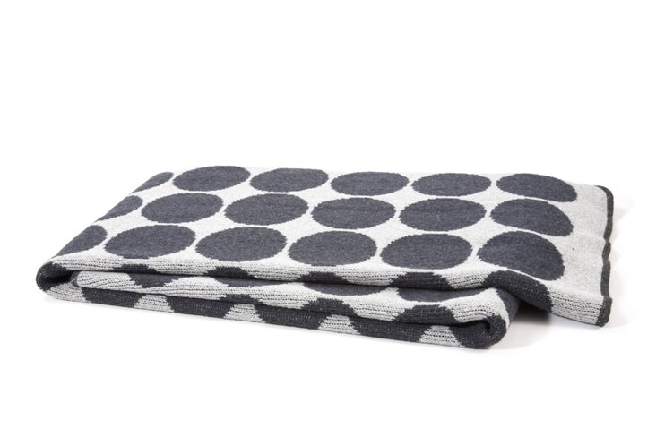 Dots Cotton-Blended Throw, Charcoal