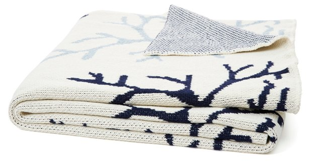 Coral Knit Cotton-Blended Throw, Blue