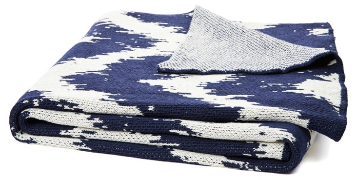 Strie Cotton-Blended Throw, Blue