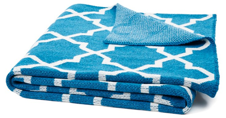 Morocco Knit Cotton-Blend Throw, Teal
