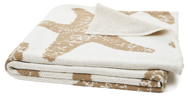 Starfish Cotton-Blended Throw, Khaki