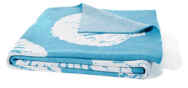 Shell Knit Cotton-Blend Throw, Aqua