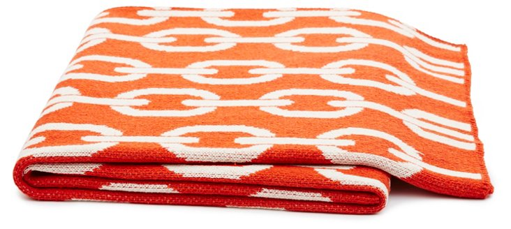 Links Cotton-Blended Throw, Spice