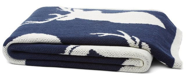 Stag Cotton-Blended Throw, Blue