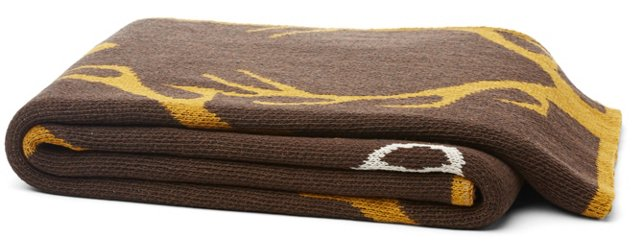 Stag Cotton-Blended Throw, Brown
