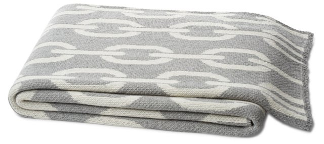 Links Cotton-Blended Throw, Gray