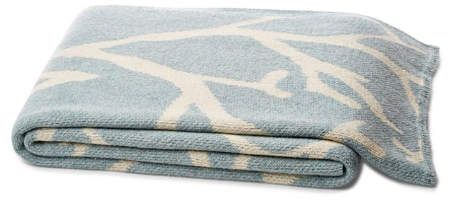 Coral Cotton-Blended Throw, Blue