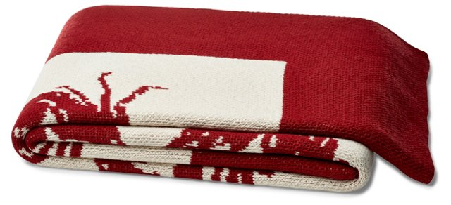 Crab Cotton-Blended Throw, Red