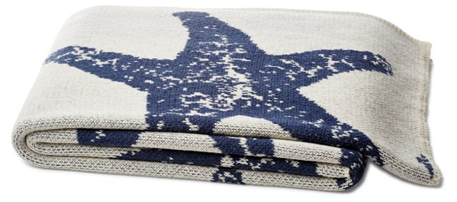 Sea Star Cotton-Blended Throw, Navy/Gray