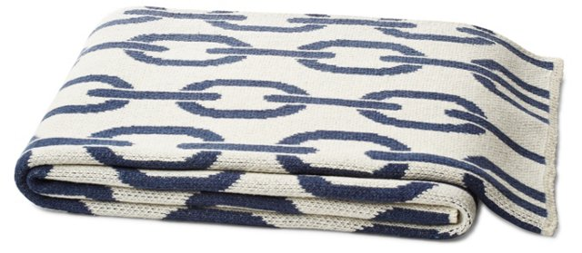Links Cotton-Blended Throw, Slate Blue
