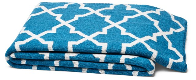 Morocco Cotton-Blended Throw, Teal
