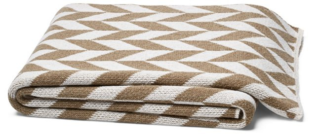 Chevron Cotton-Blended Throw, Khaki