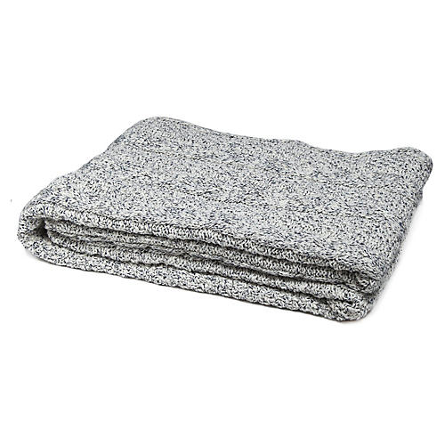 Reversible Heathered Cable Throw, Milk