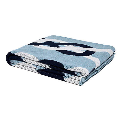 Knots Pond Outdoor Cotton Throw, Blue Pond