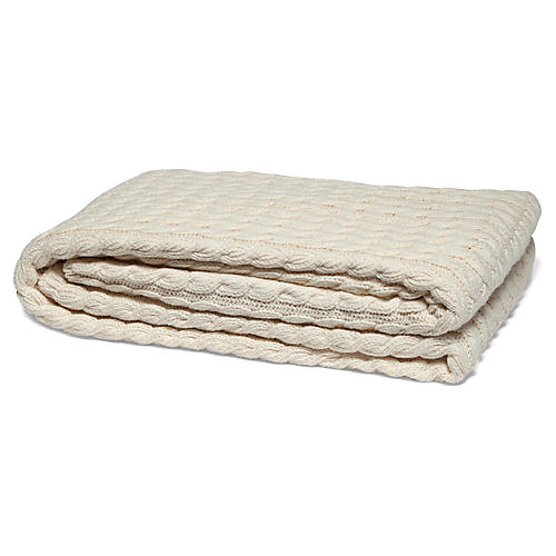 Ribbed Cable Cotton Throw, Natural