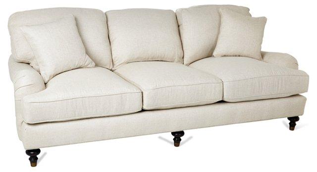 "Celine 89"" Roll-Arm Sofa, Natural"