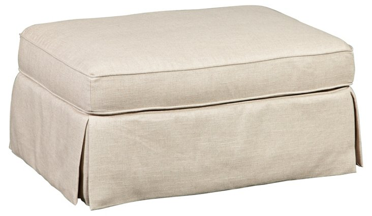 Hennessy Skirted Ottoman, Natural