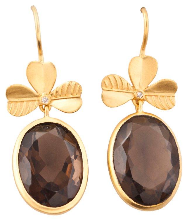 Smoky Quartz Clover Earrings