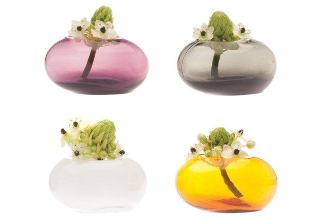 Egg Shaped Vases, 4 Asst.