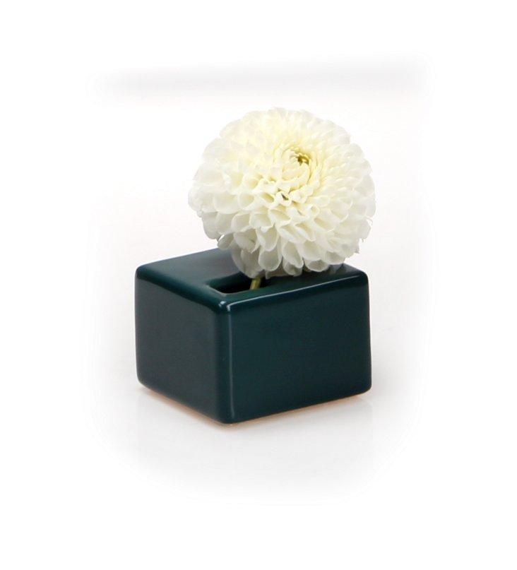 S/3 Cube Vases, Hunter Green