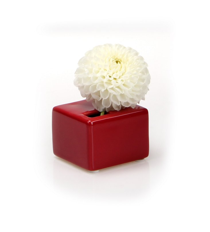 S/3 Cube Vases, Red