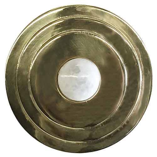 Perry Round Knob, Antiqued Brass/Moonstone
