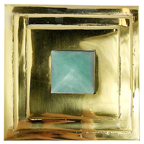 Perry Square Knob, Brass/Amazonite